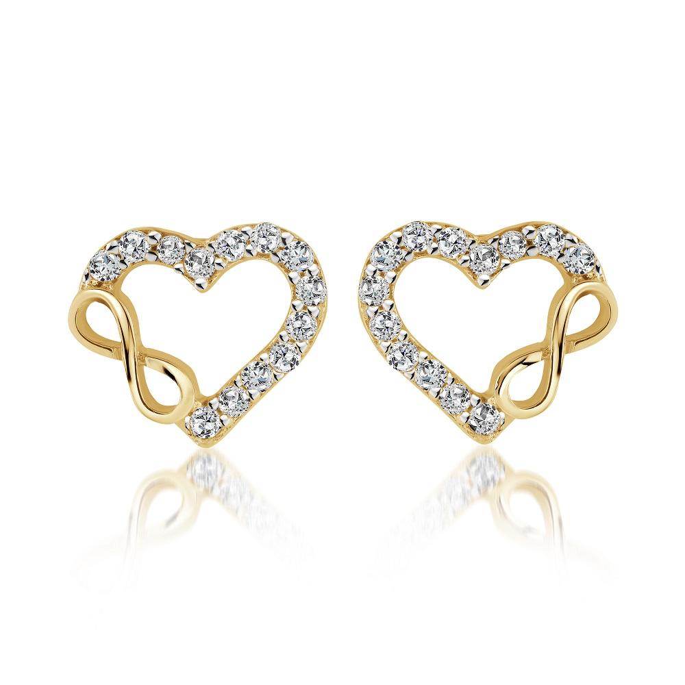 Boucles d'oreilles coeur + symbole d'infini pour femme - Or jaune 10K & Zircons cubiques