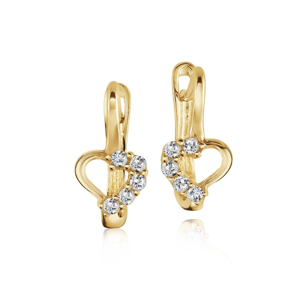 Boucles d'oreilles huggies coeurs pour femme - Or jaune 10K & Zircons cubiques