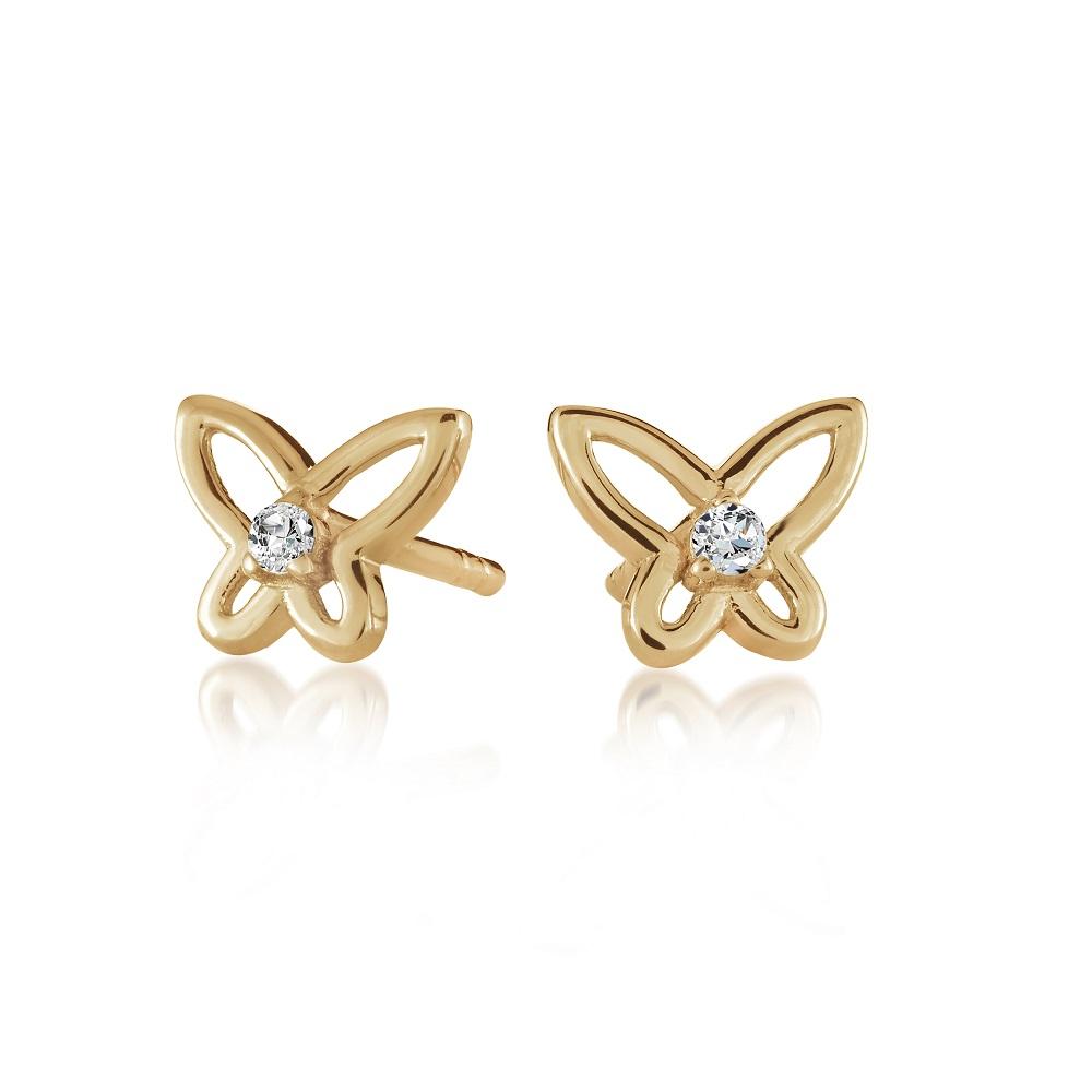 Boucles d'oreilles papillons pour femme - Or jaune 10K & Zircons cubiques