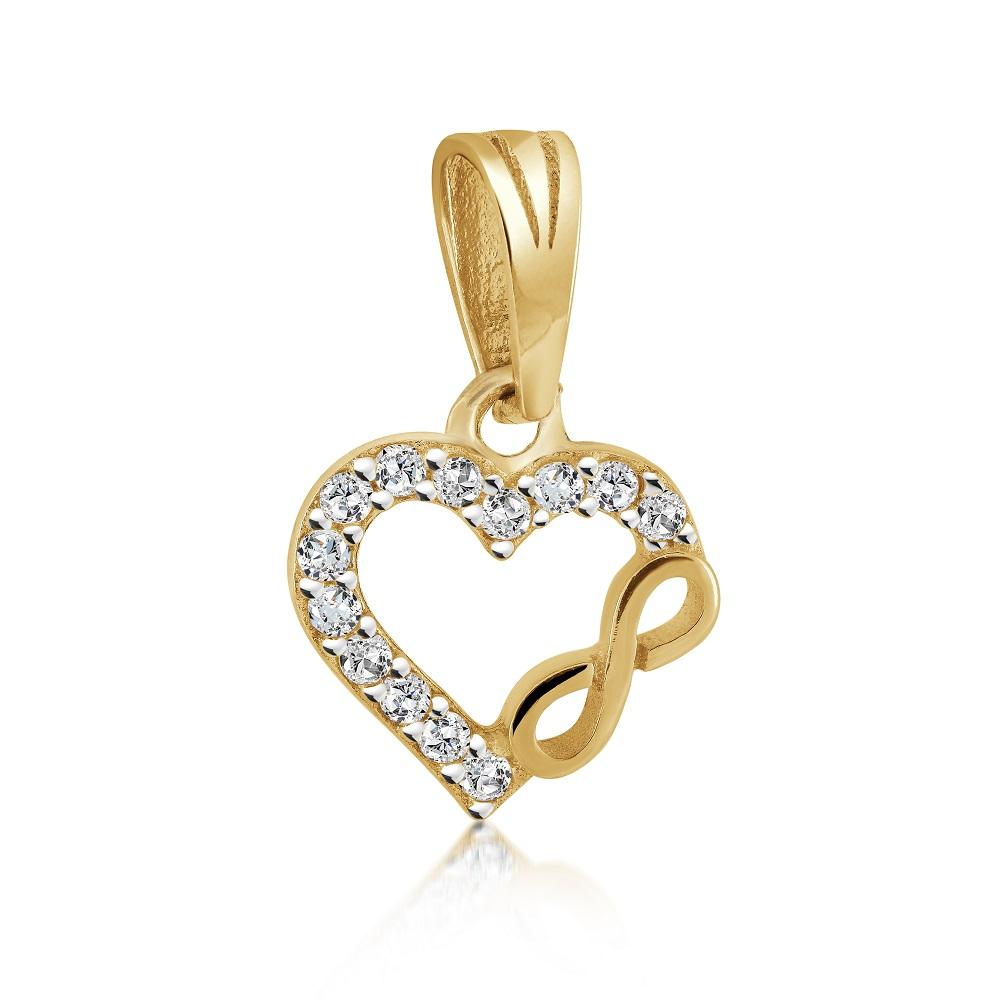 Pendentif coeur + symbole d'infini pour femme - Or jaune 10K & Zircons cubiques