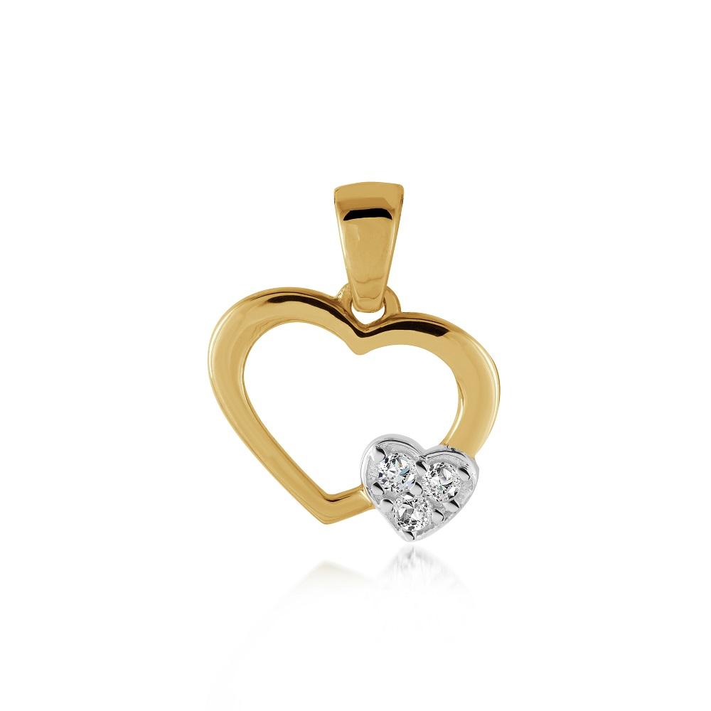 Pendentif coeurs pour femme - Or jaune 10K & Zircons cubiques