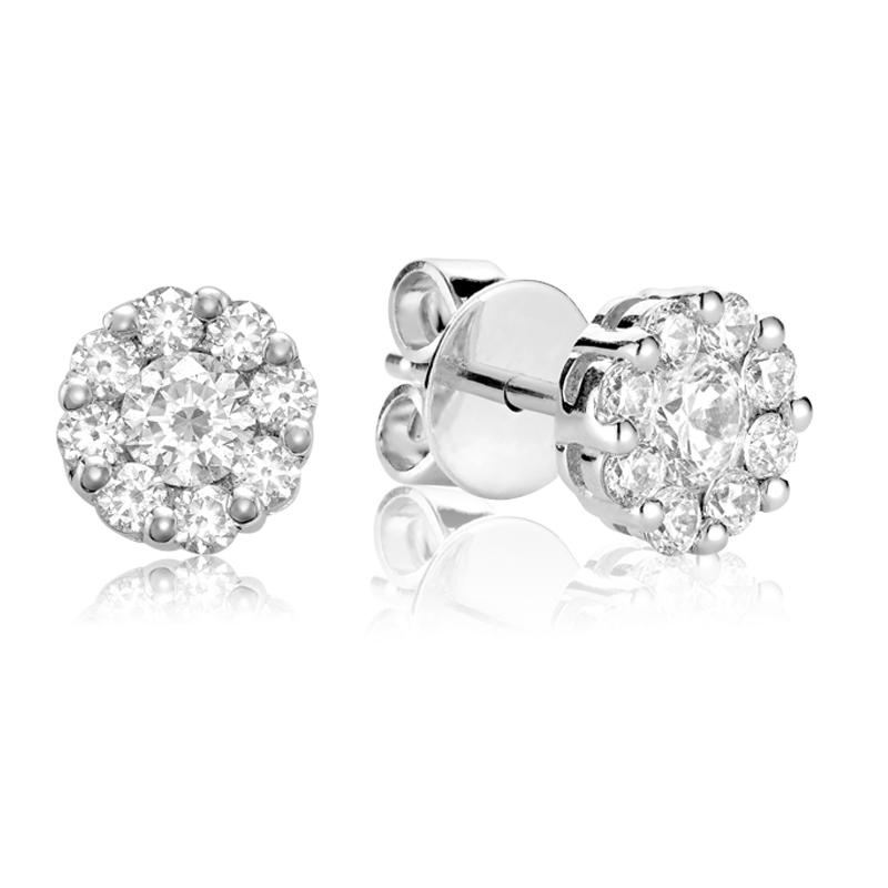 Boucles d'oreilles pour femme - Or blanc 10K & Diamants totalisant 0.10 Carat