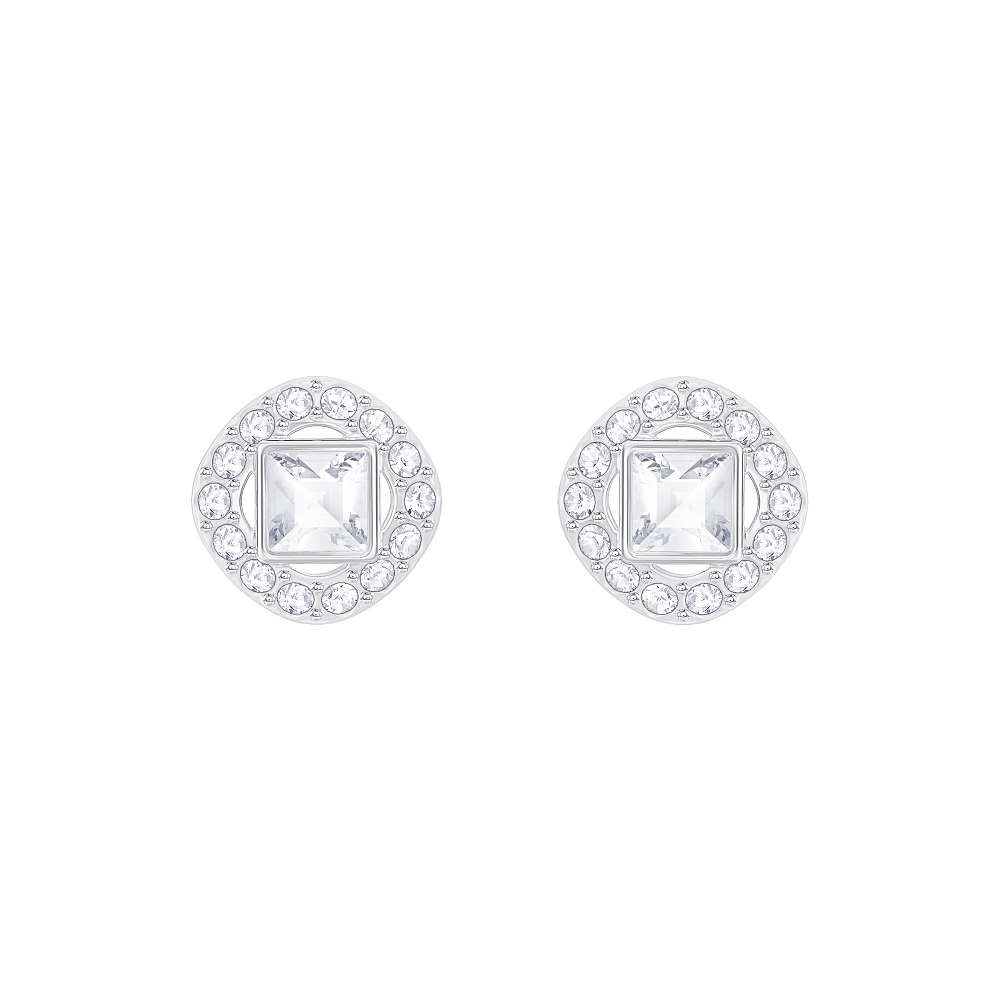 ANGELIC SQUARE PIERCED EARRINGS, WHITE, RHODIUM PLATING