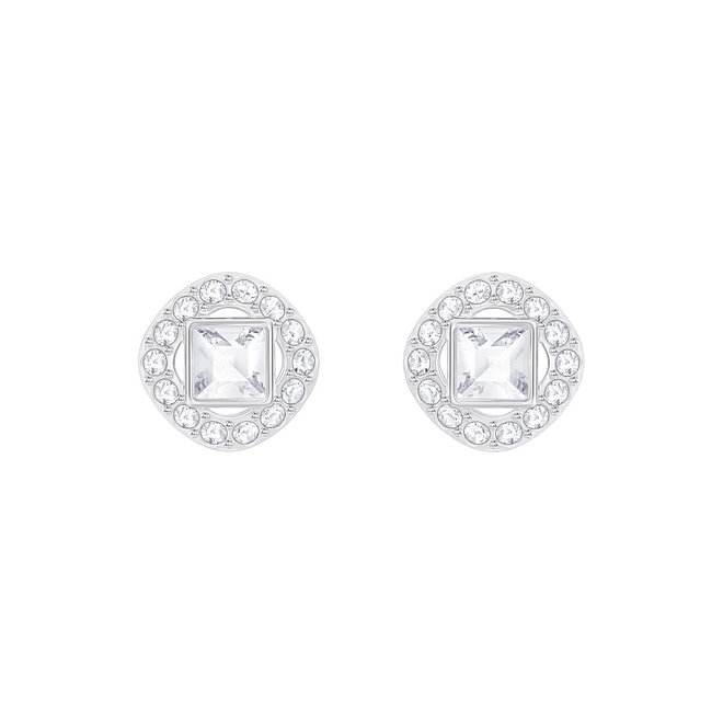 Swarovski Angelic Square Pierced Earrings White Rhodium Plating Color Doucet Latendresse