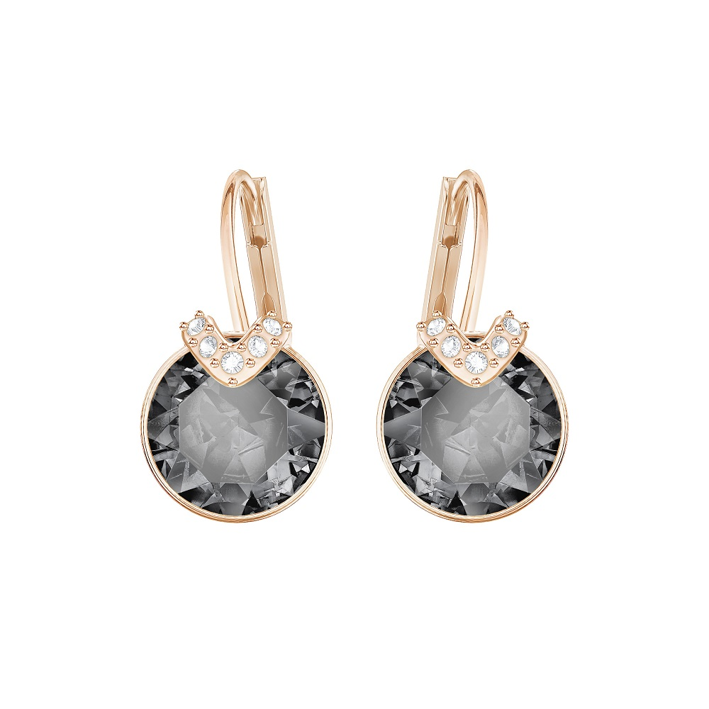 BELLA V PIERCED EARRINGS, GRAY, ROSE GOLD PLATING