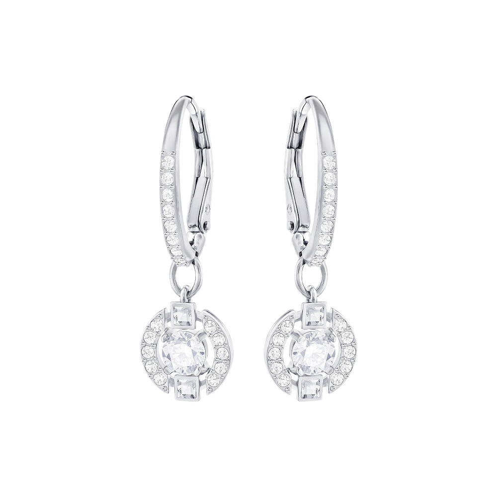 SPARKLING DANCE ROUND PIERCED EARRINGS, WHITE, RHODIUM PLATING