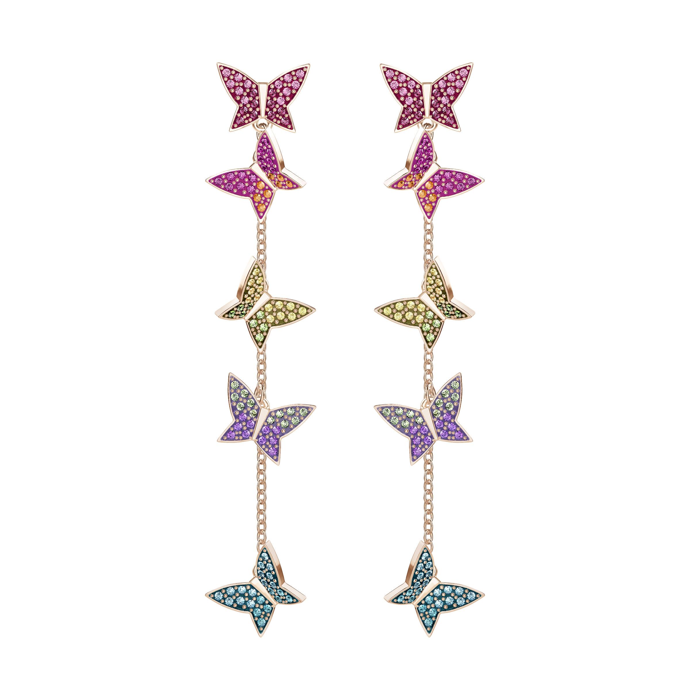 Boucles d'oreilles Swarovski LILIA, MULTICOLORE, PLAQUÉ OR ROSE