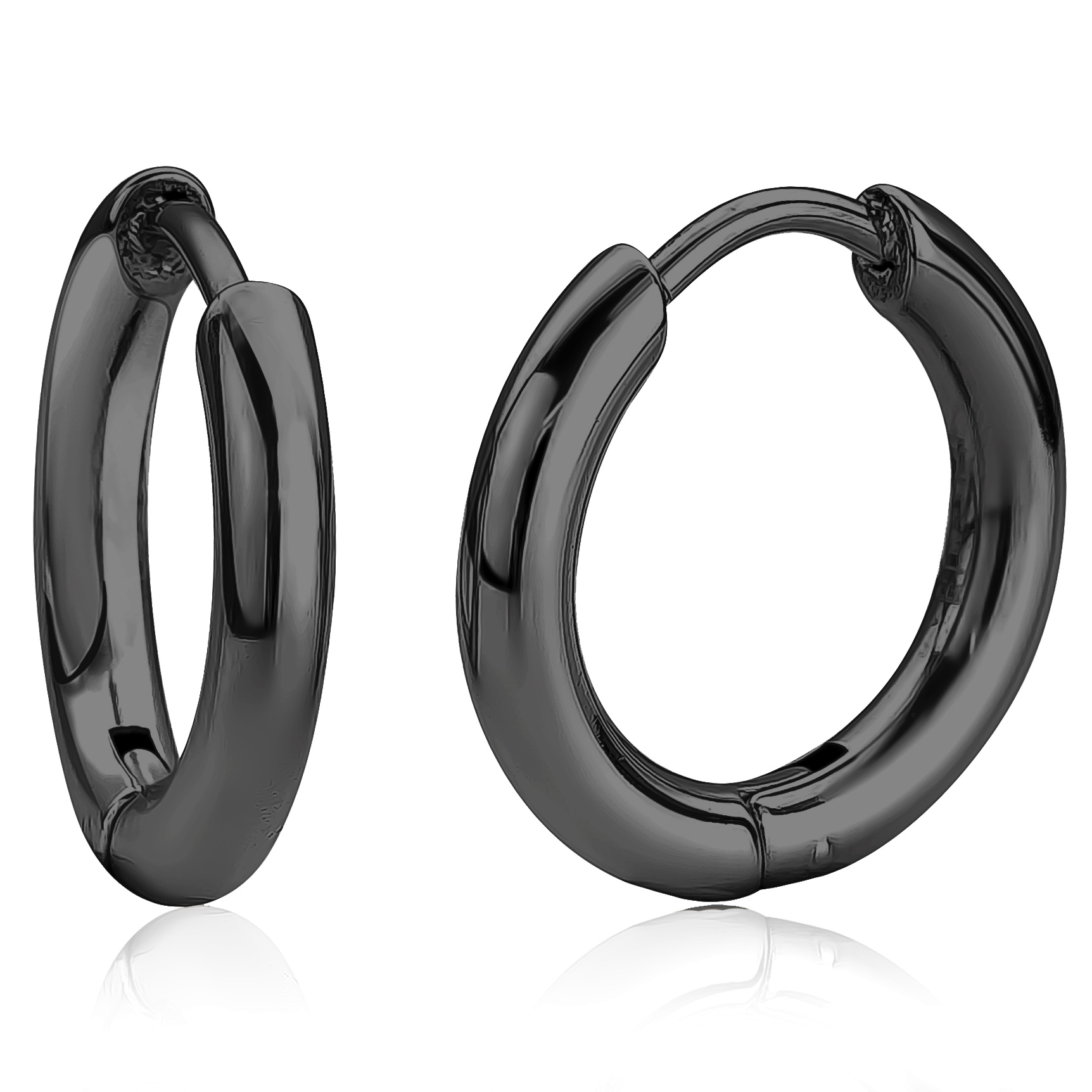 Huggies earrings for woman - Black stainless steel