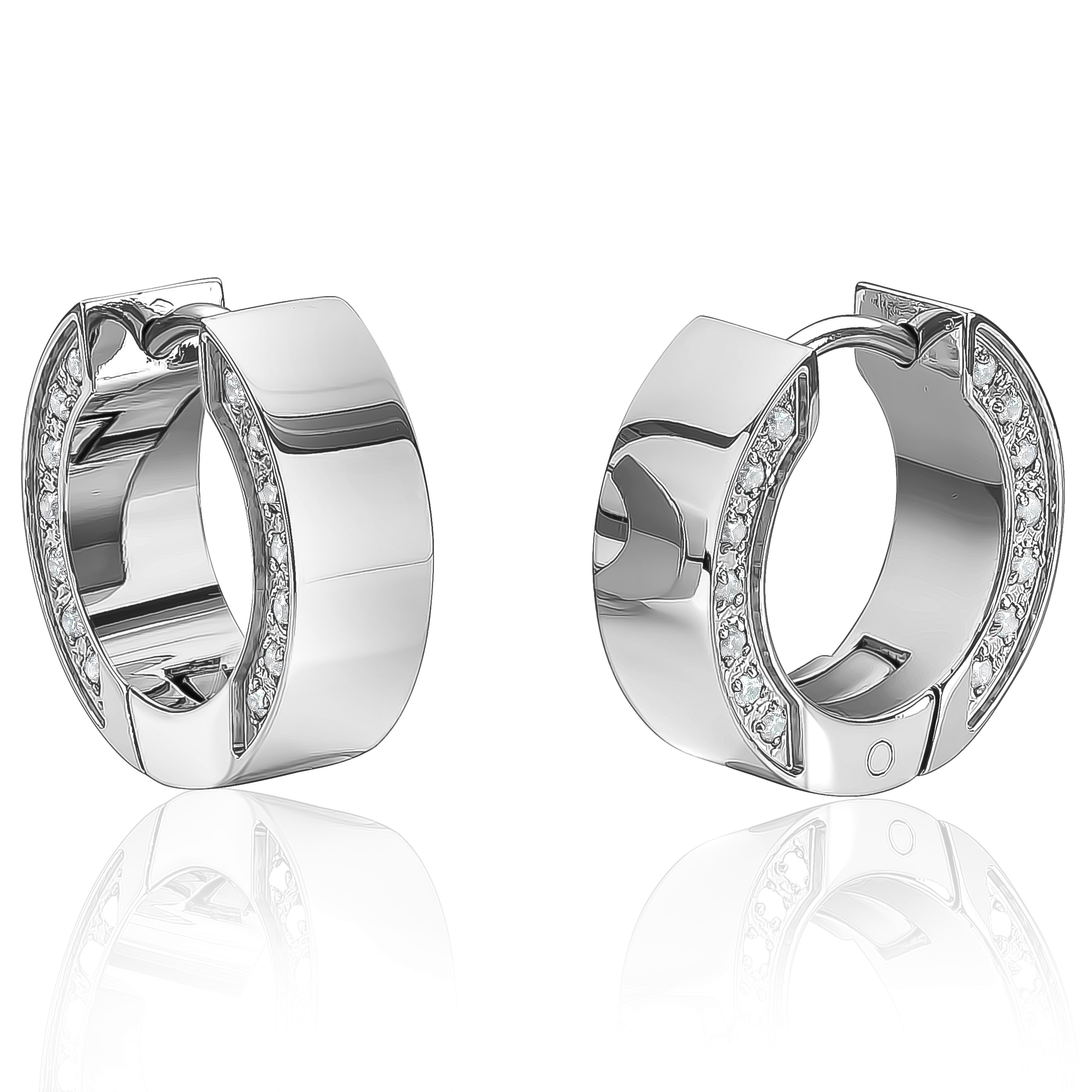 Huggies earrings for women - Stainless steel & Cubic zirconia