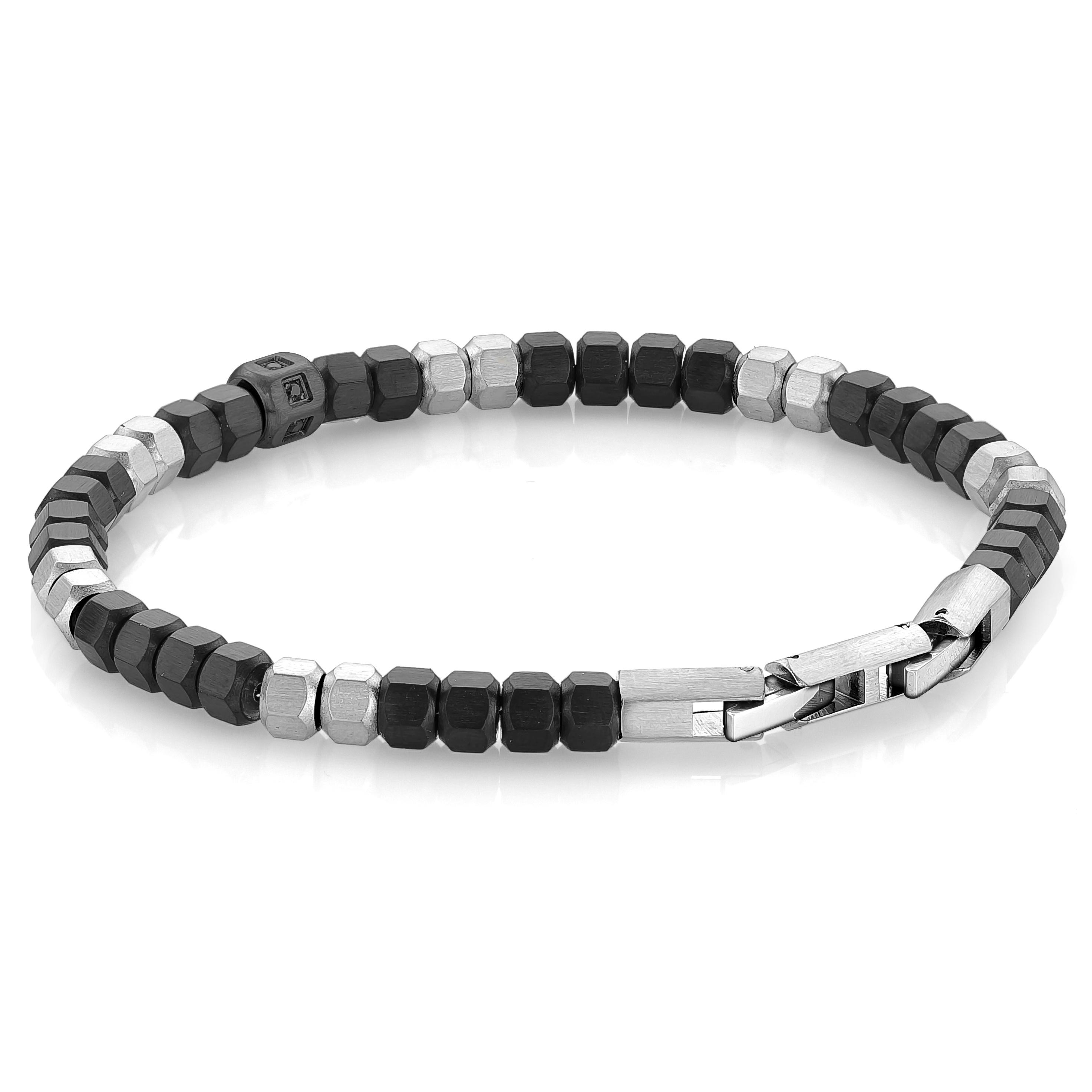 Hexagon beads bracelet for man - 2 tone stainless steel