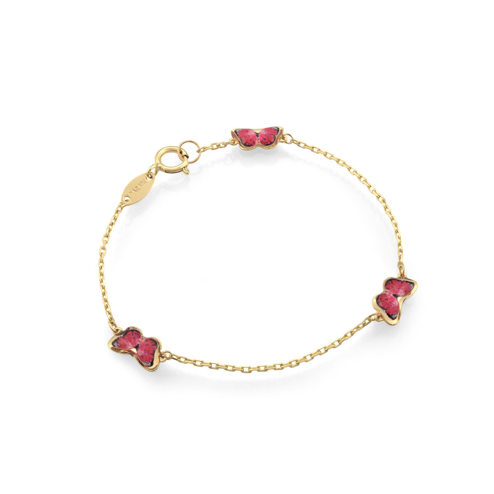 Butterfly bracelet for child - 10K yellow gold & Enamel