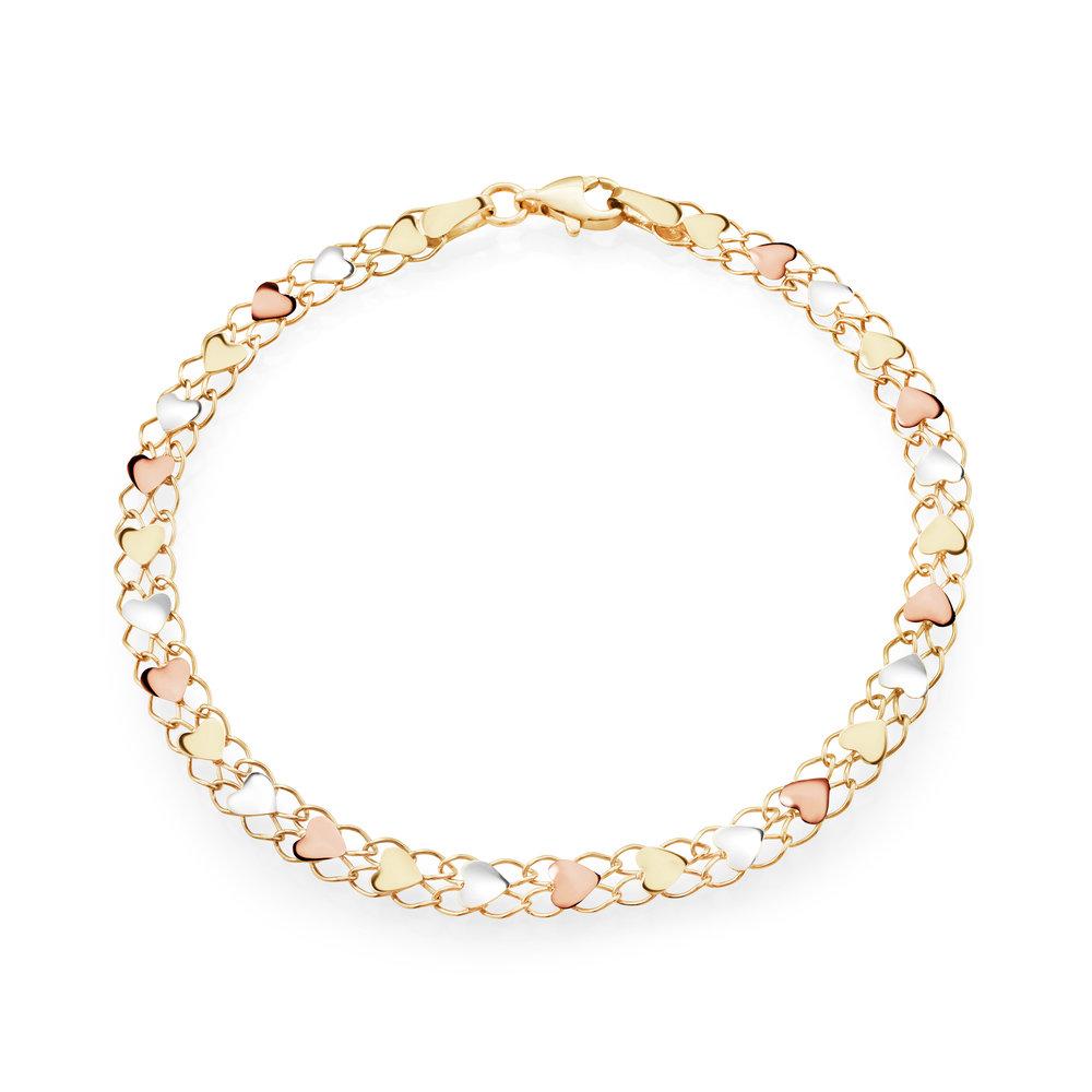 Bracelet coeurs pour femme - Or 3 tons 10K