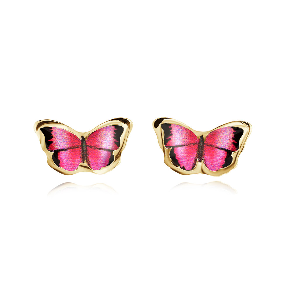 Butterfly earrings for child - 10K yellow gold & Enamel