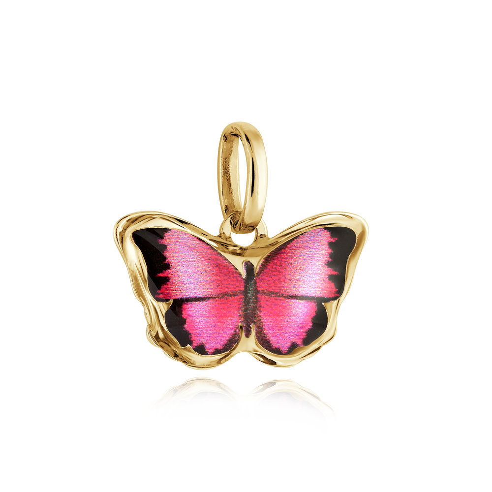 Butterfly pendant for child - 10K yellow gold & Enamel