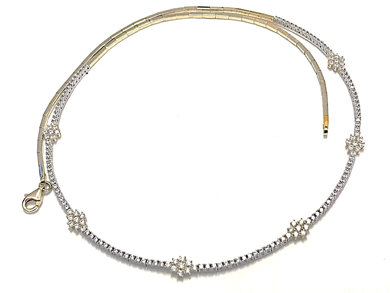 Necklace for woman - 10K 2 tone gold & Cubic zirconia