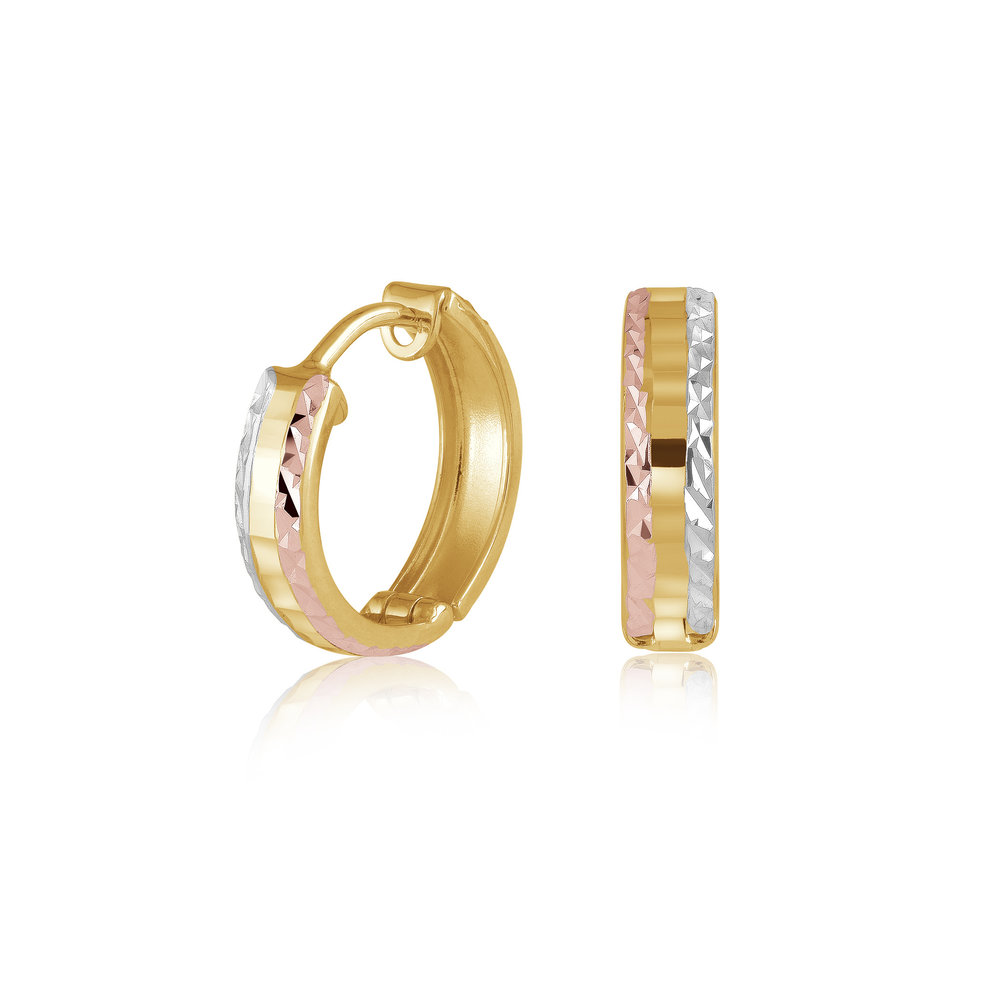 Hoop earrings for woman - 10K 3 tone gold