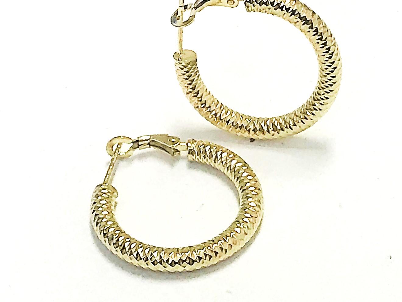 Boucles d'oreilles anneaux pour femme - Or jaune 10K