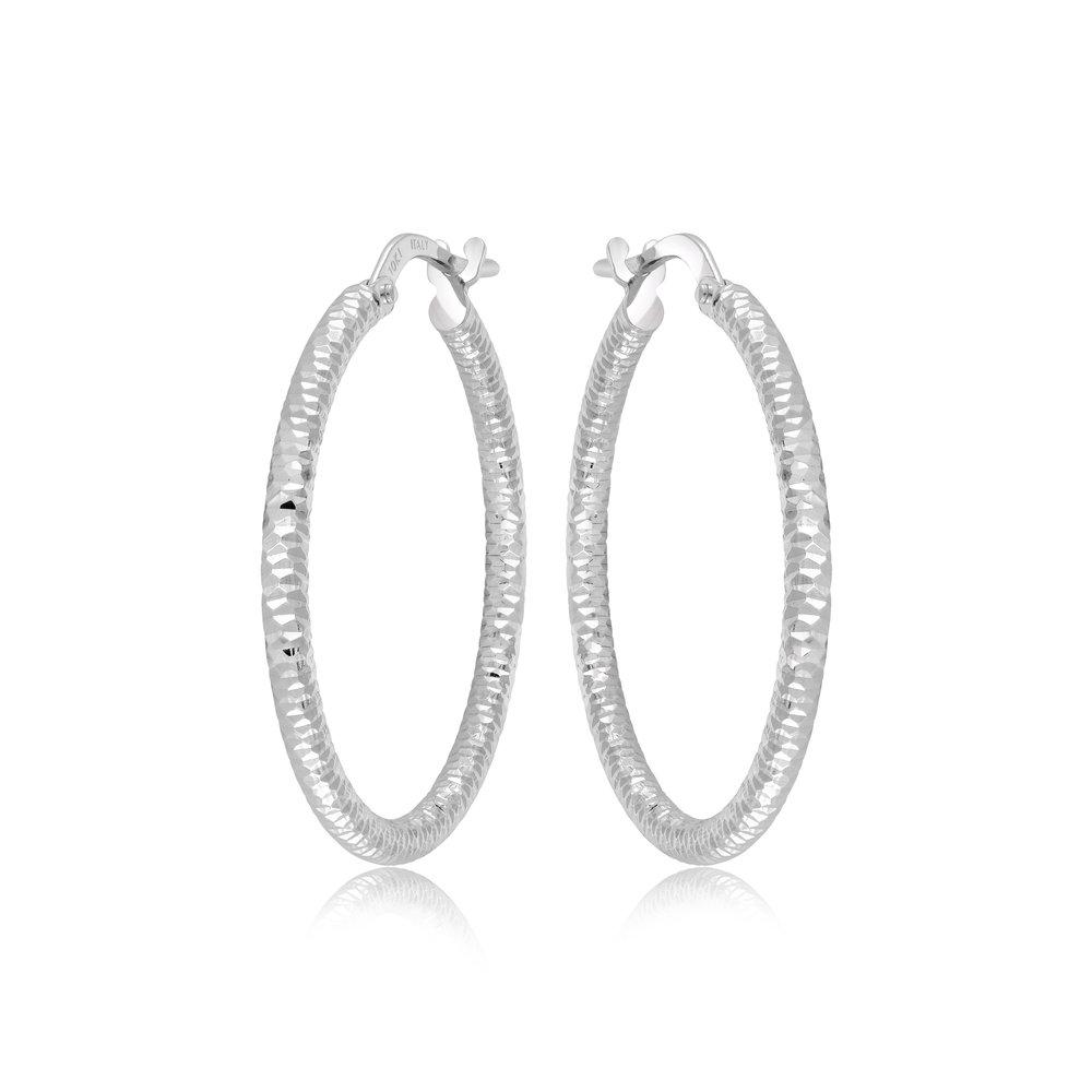 Hoop earrings for woman - 10K white gold
