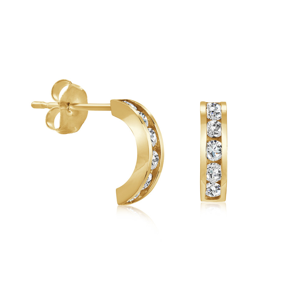 Earrings with cubic zirconnium 14K yellow Gold