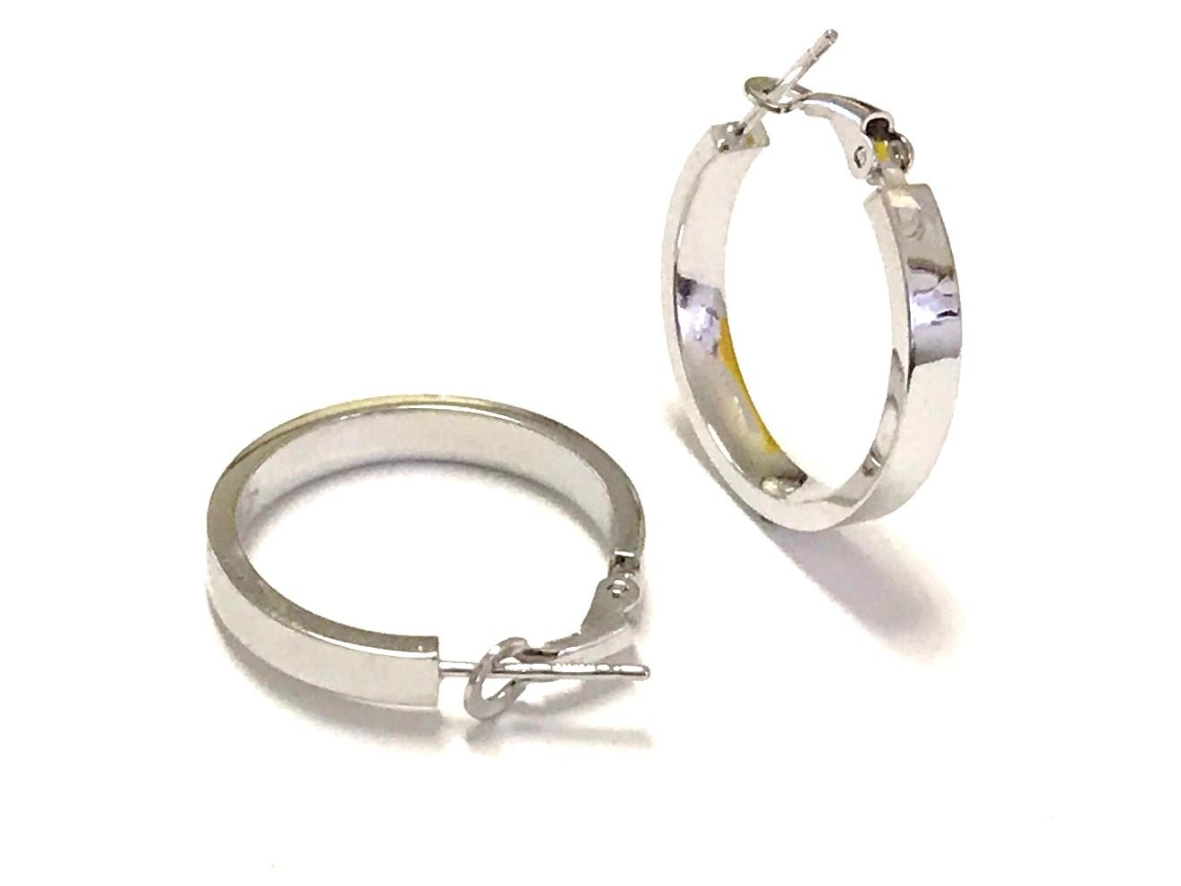 Boucles d'oreilles anneaux pour femme - Or blanc 10K
