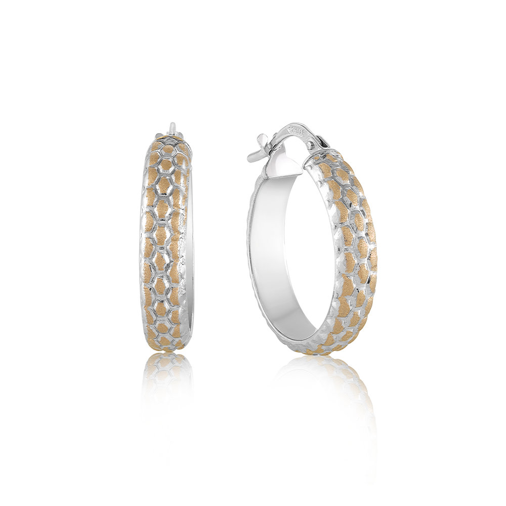 Hoop earrings for woman - 10K 2 tone gold