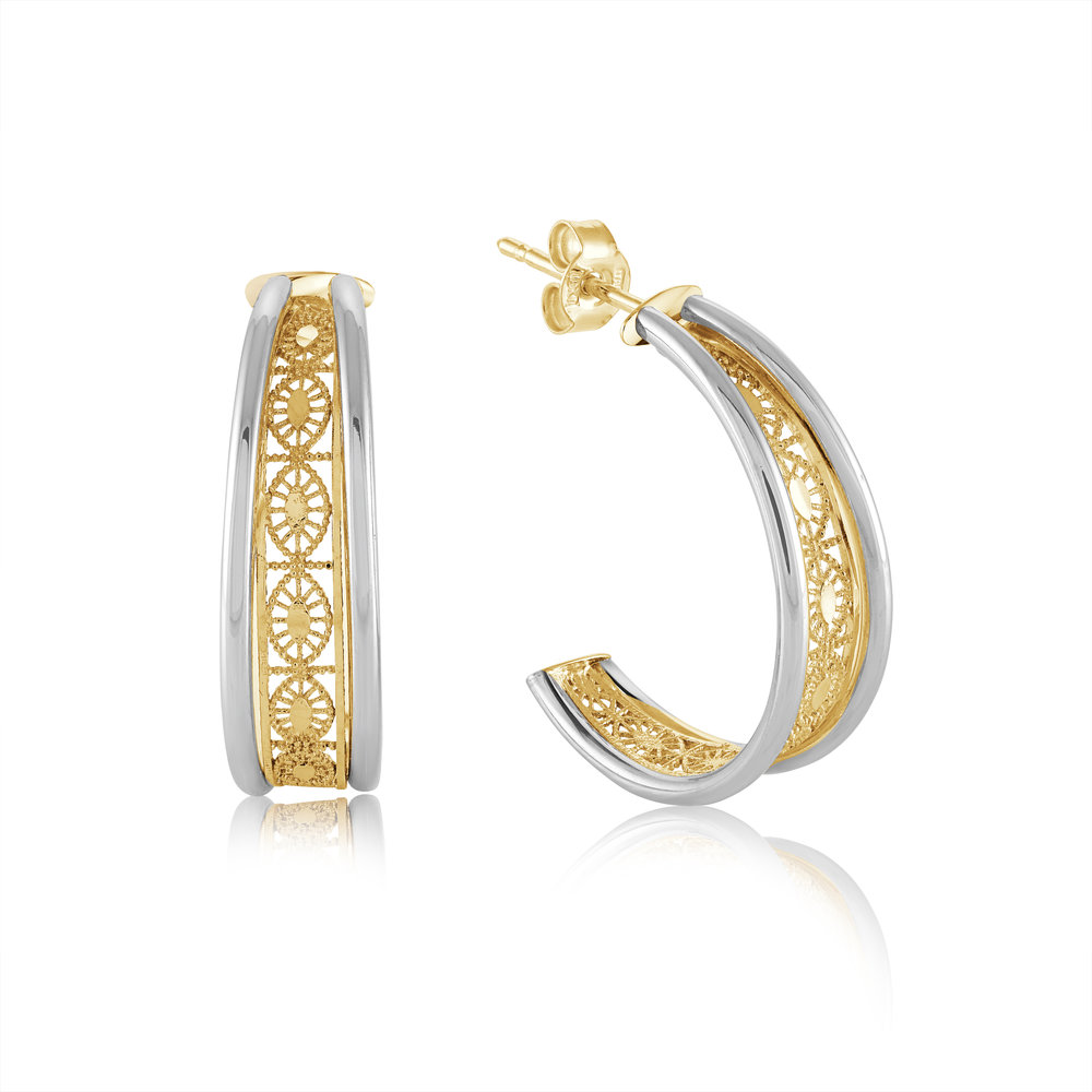 Filigree earrings for woman - 10K 2 tone gold