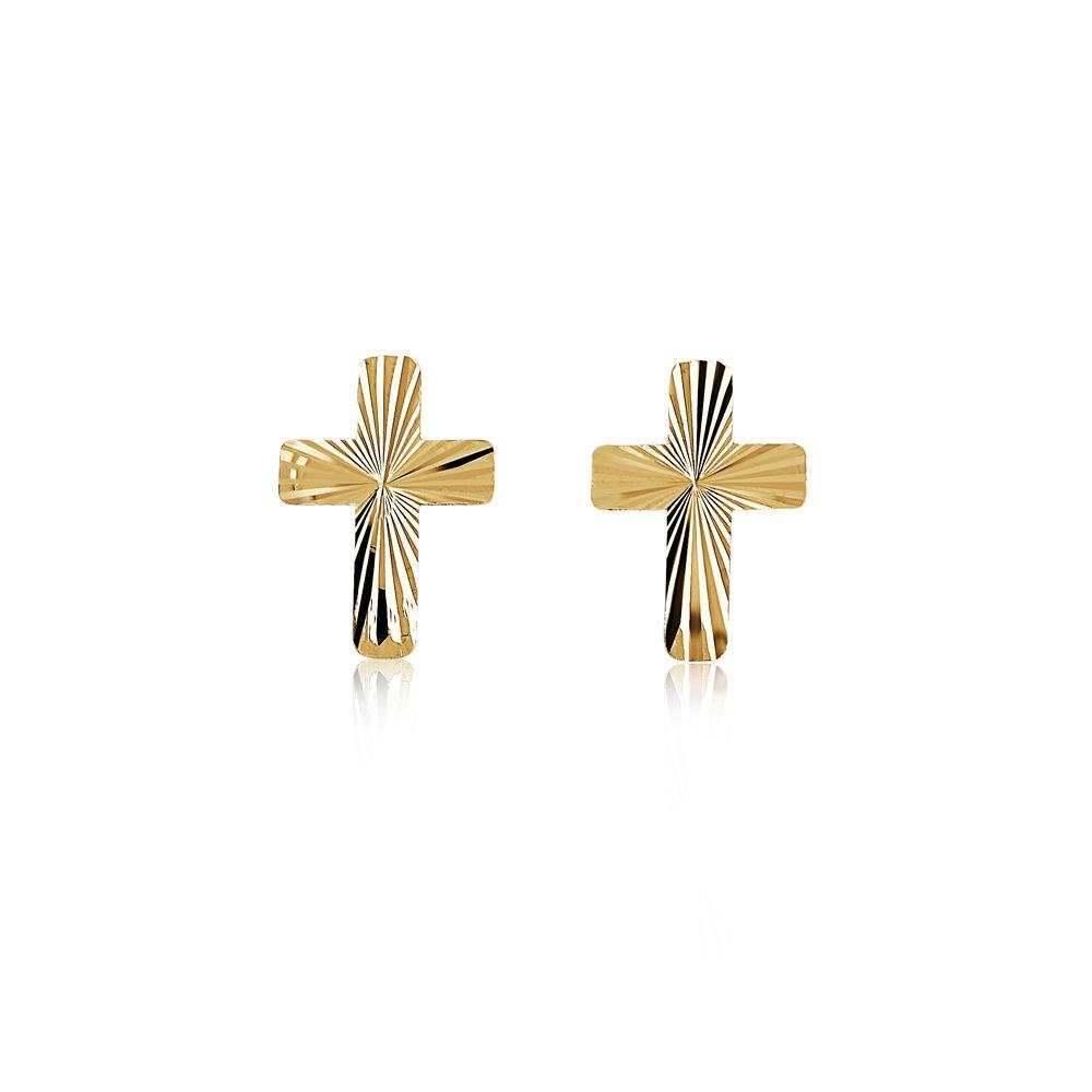 Boucles d'oreilles croix pour enfant - Or jaune 10K