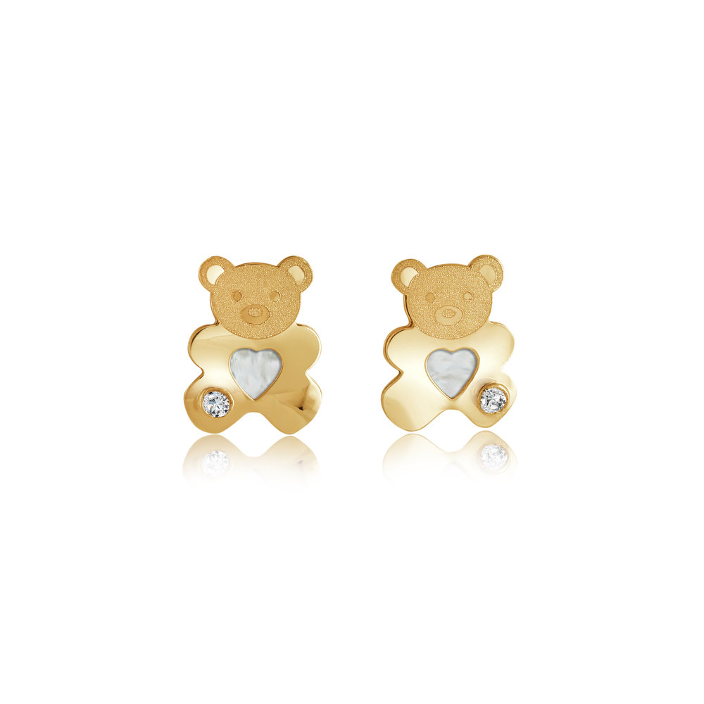 Teddy bear earrings for child - 10K yellow gold & Cubic zirconia