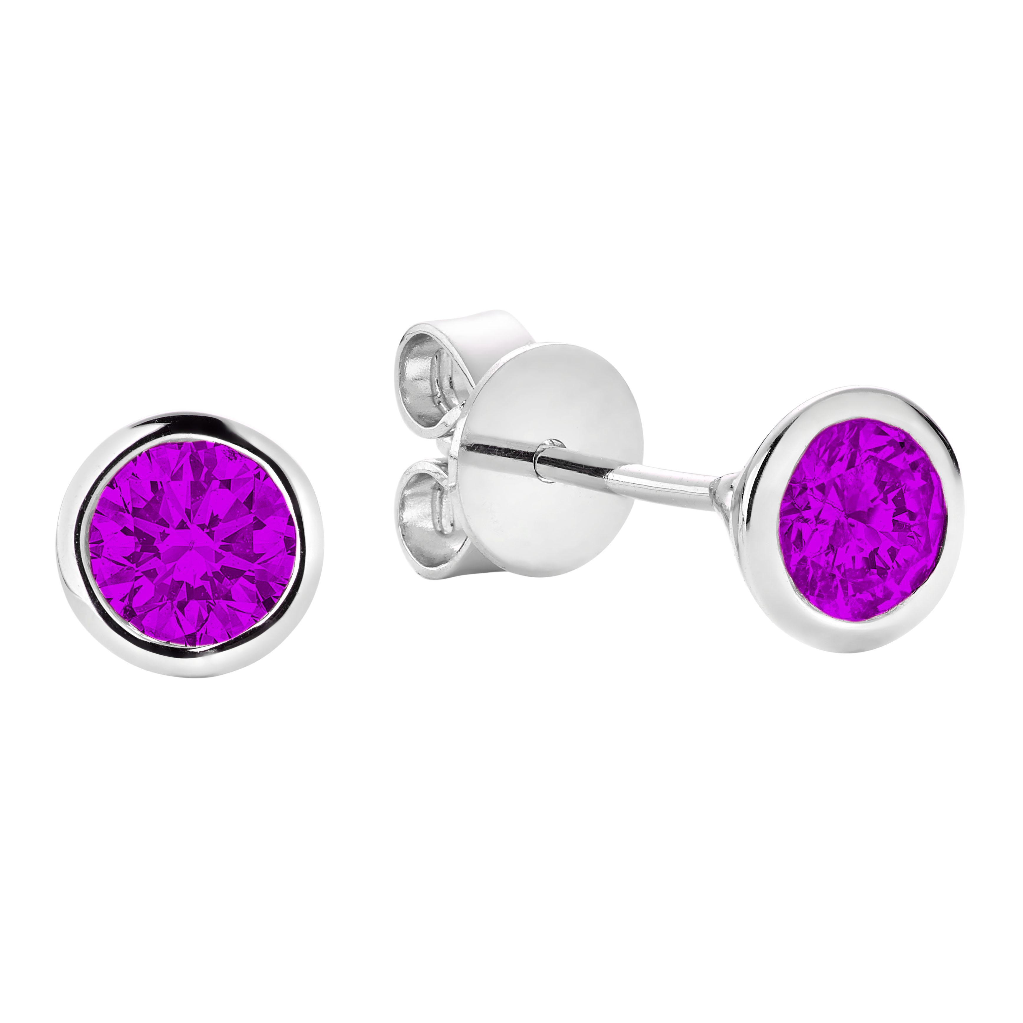 Boucles d'oreilles pour femme - Or blanc 10K & Améthystes