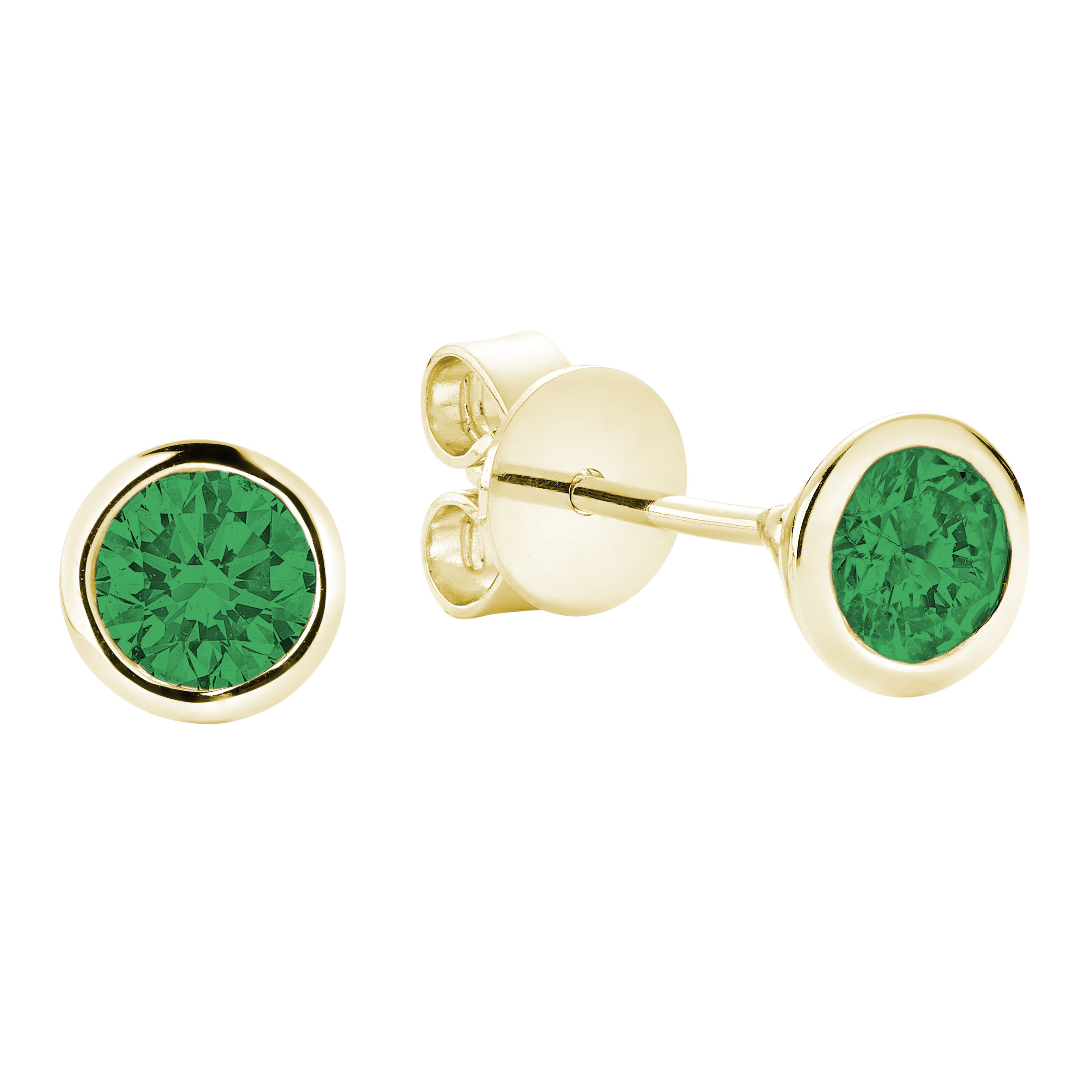 Earrings for woman - 10K yellow gold & Emerald