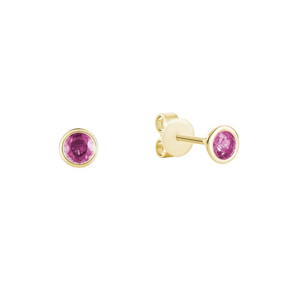 Boucles d'oreilles à tiges fixes pour femme - Or jaune 10K & Tourmalines