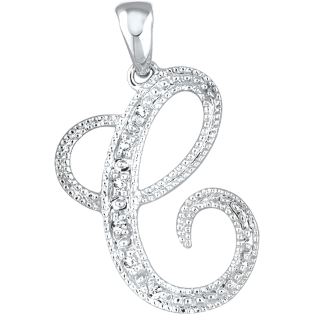 Letter pendant - 10K white Gold & Diamonds *All the alphabet letters are available!!