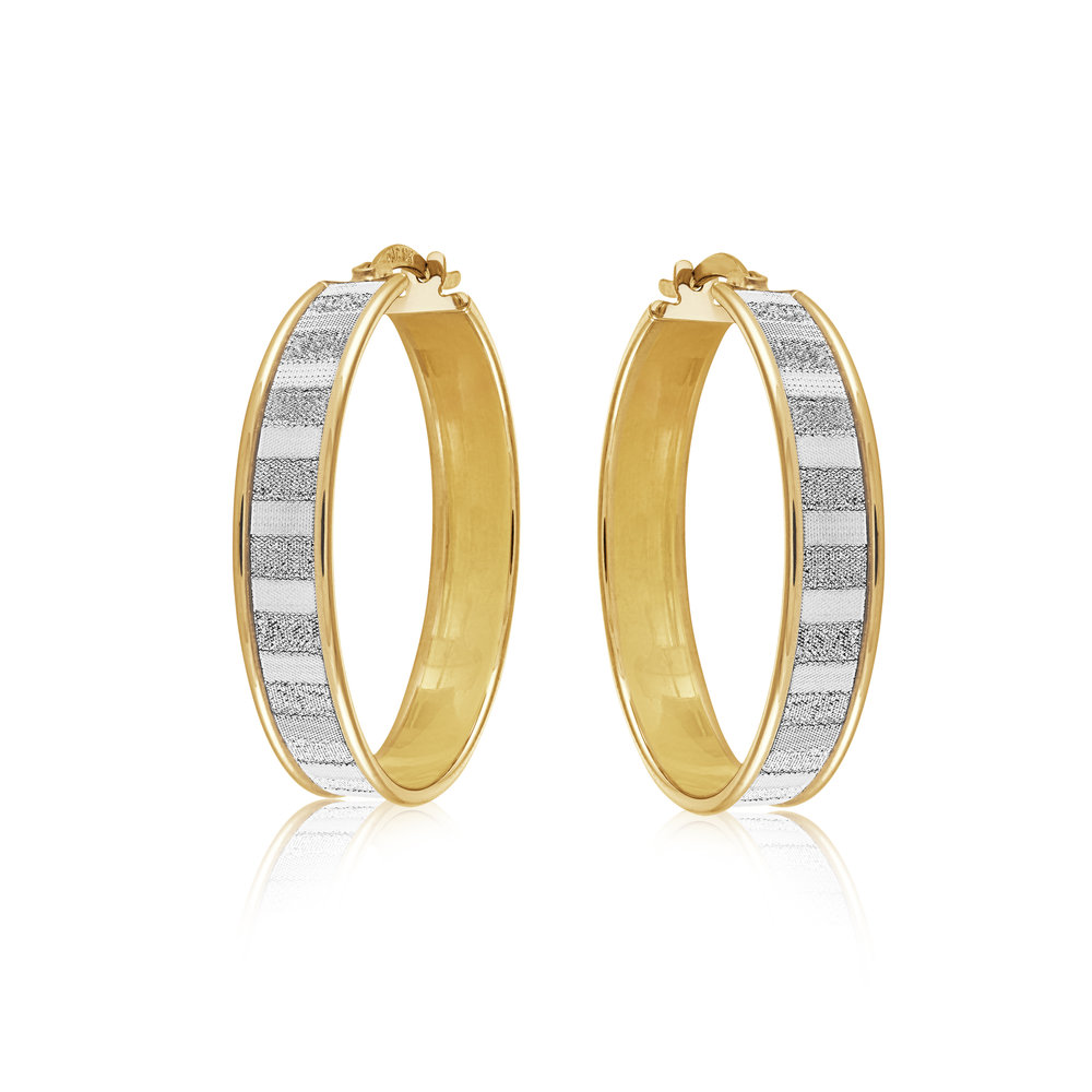 Hoop earrings for woman - 10K 2-tone gold