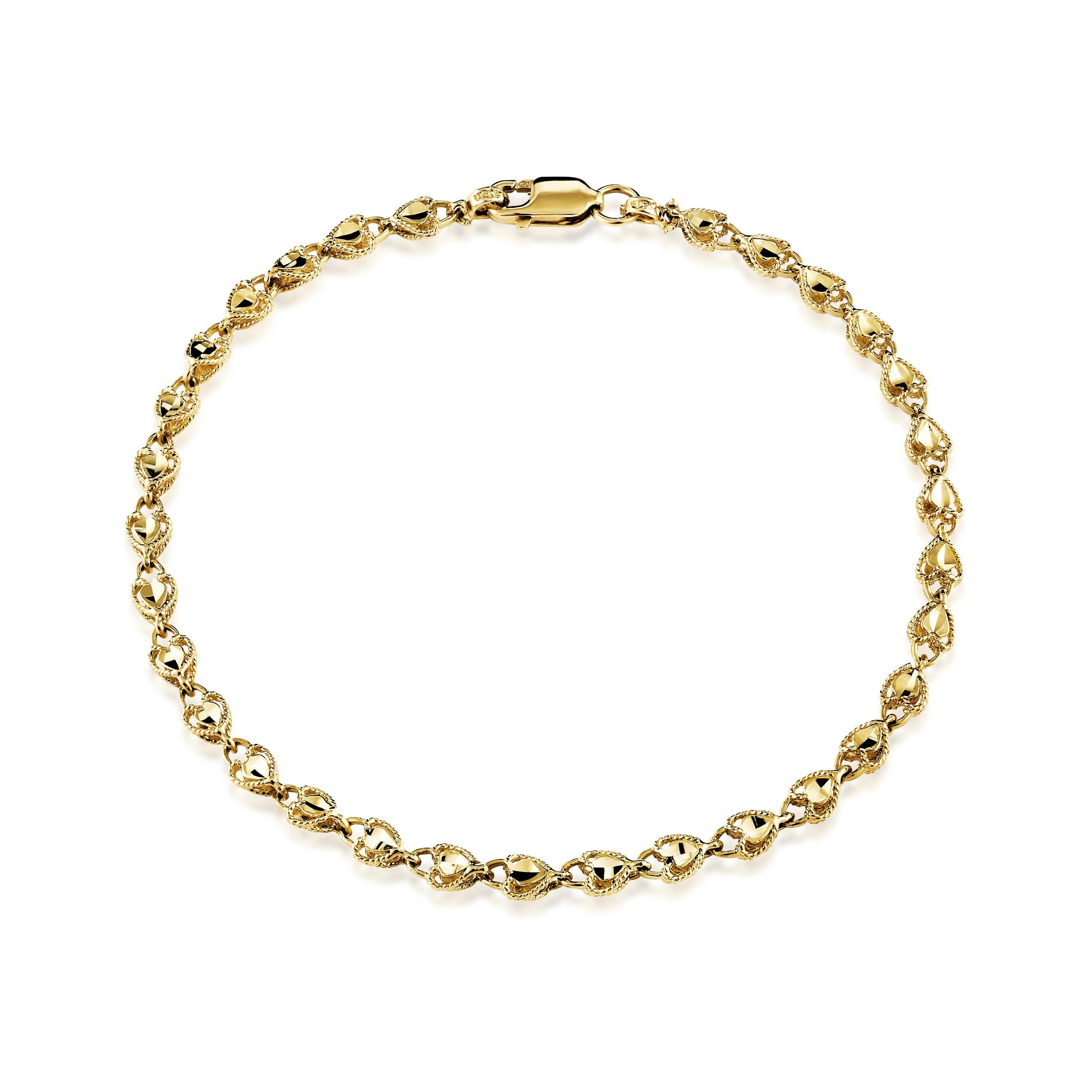 Bracelet coeurs pour femme - Or jaune 10K
