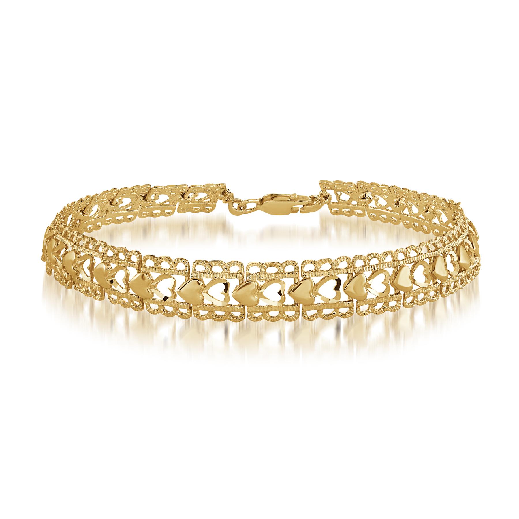 Heart bracelet for woman - 10K yellow gold