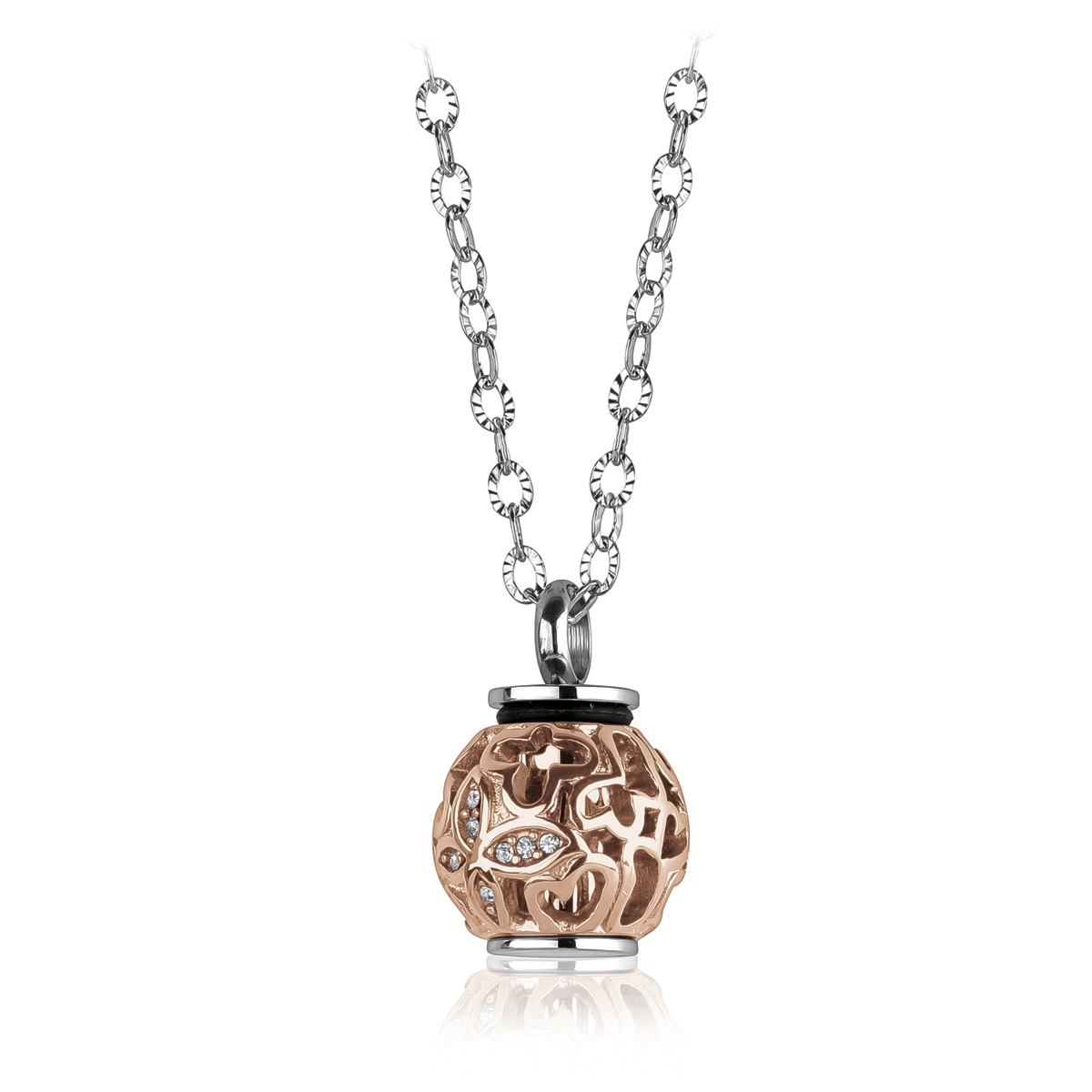 Butterfly urn pendant for woman - 2-tone stainless steel & Cubic zirconia