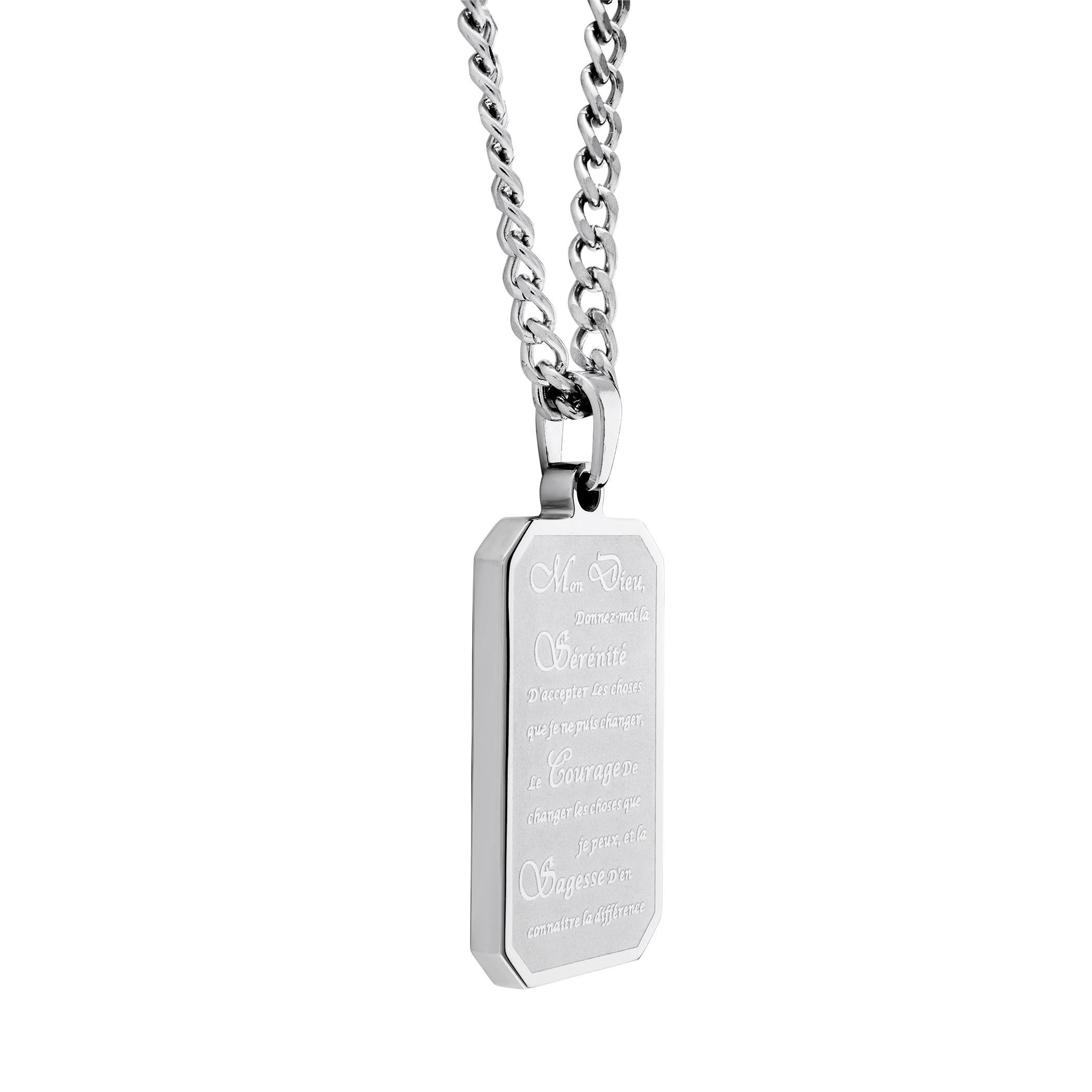 French Serenity prayer plate pendant - Stainless steel