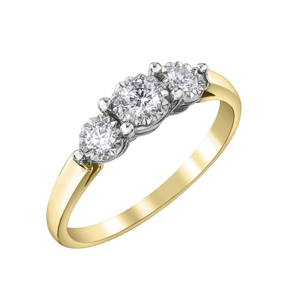 Éclat du Nord trinity engagement ring for woman - 10K yellow gold & Canadian diamonds