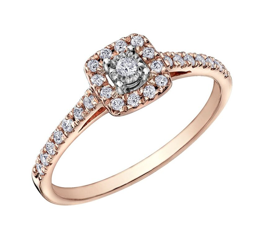 Éclat du Nord engagement ring for woman -10K rose gold & Canadian diamonds