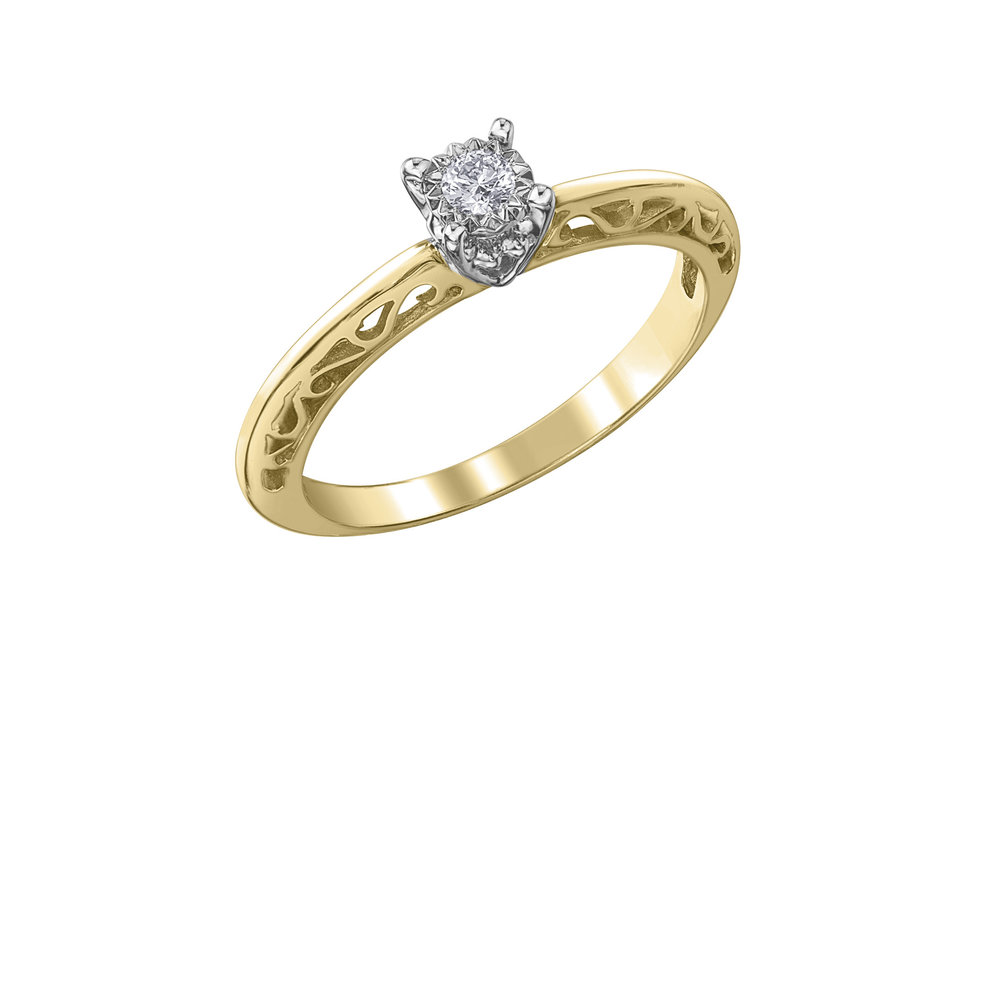 Éclat du Nord ring for woman - 10K yellow gold &  Canadian diamond solitaire 0.07 Carat T.W.