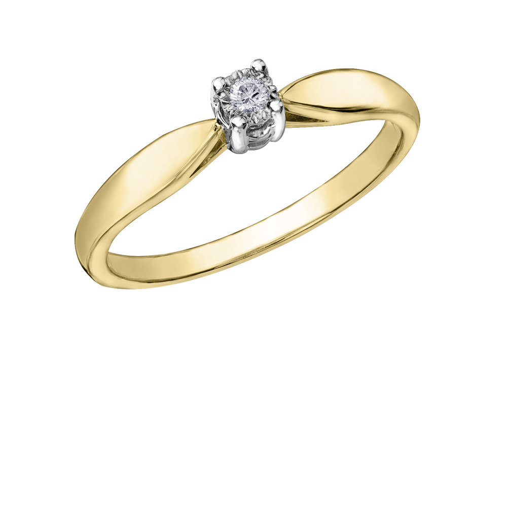 Éclat du Nord ring for woman - 10K yellow gold &  Canadian diamond solitaire 0.02 Carat T.W.Â