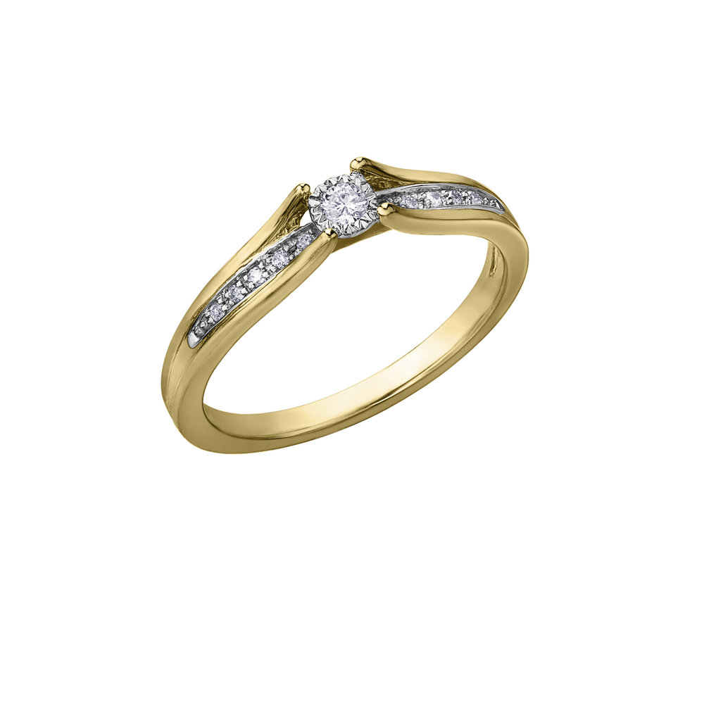 Éclat du Nord Ring for woman -10K yellow gold & Canadian diamonds T.W. 0.10 carat