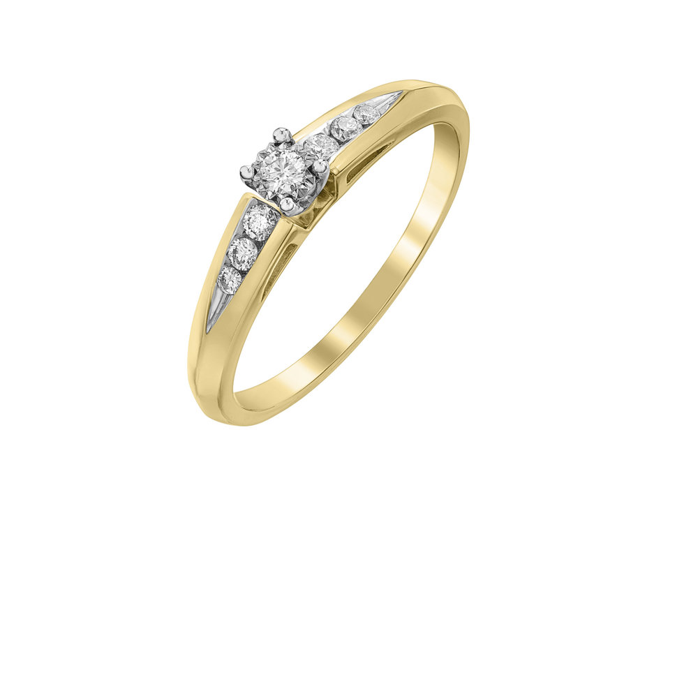 Éclat du Nord Ring for woman -10K yellow gold & Canadian diamonds T.W. 0.14 carat
