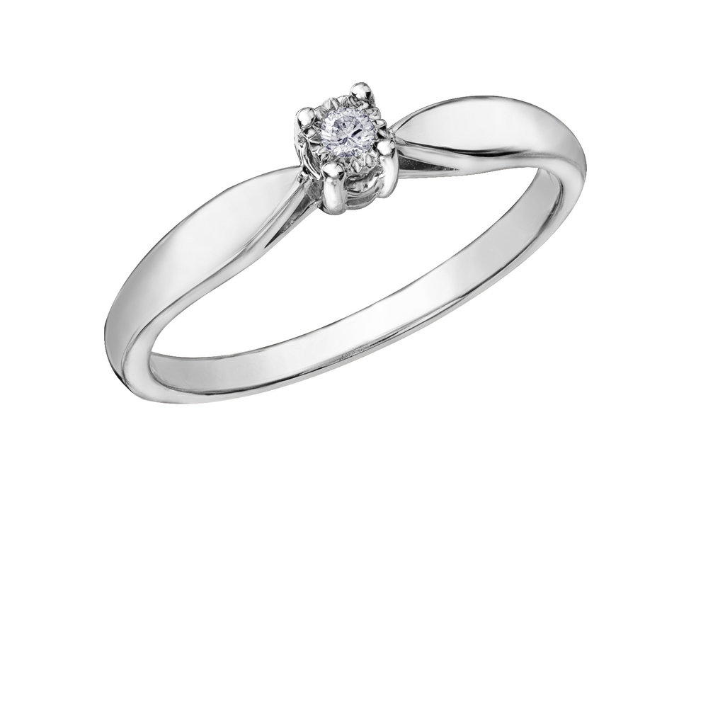 Éclat du Nord Ring for woman - 10K white gold & Solitaire Canadian diamond T.W. 0.03 carat
