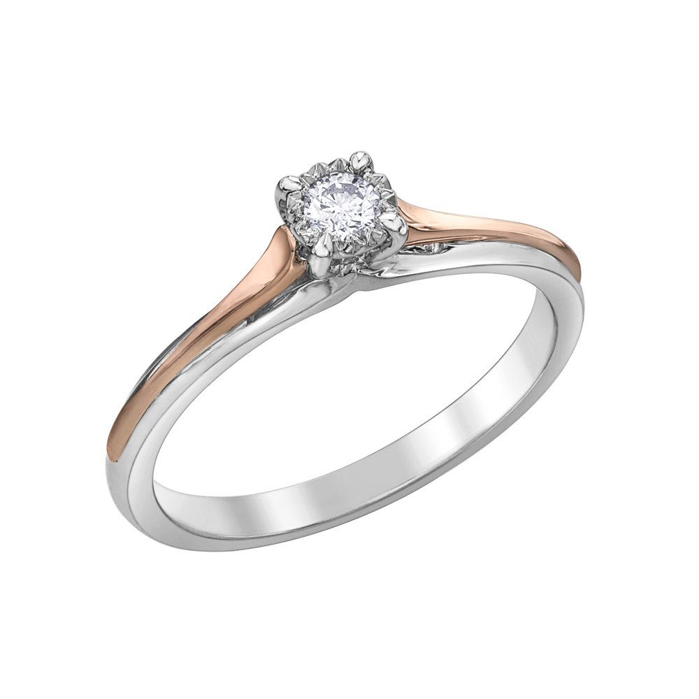 Éclat du Nord ring for woman - 10K 2-tone gold (rose & white) & Canadian diamond solitaire 0.05 Carat T.W.Â