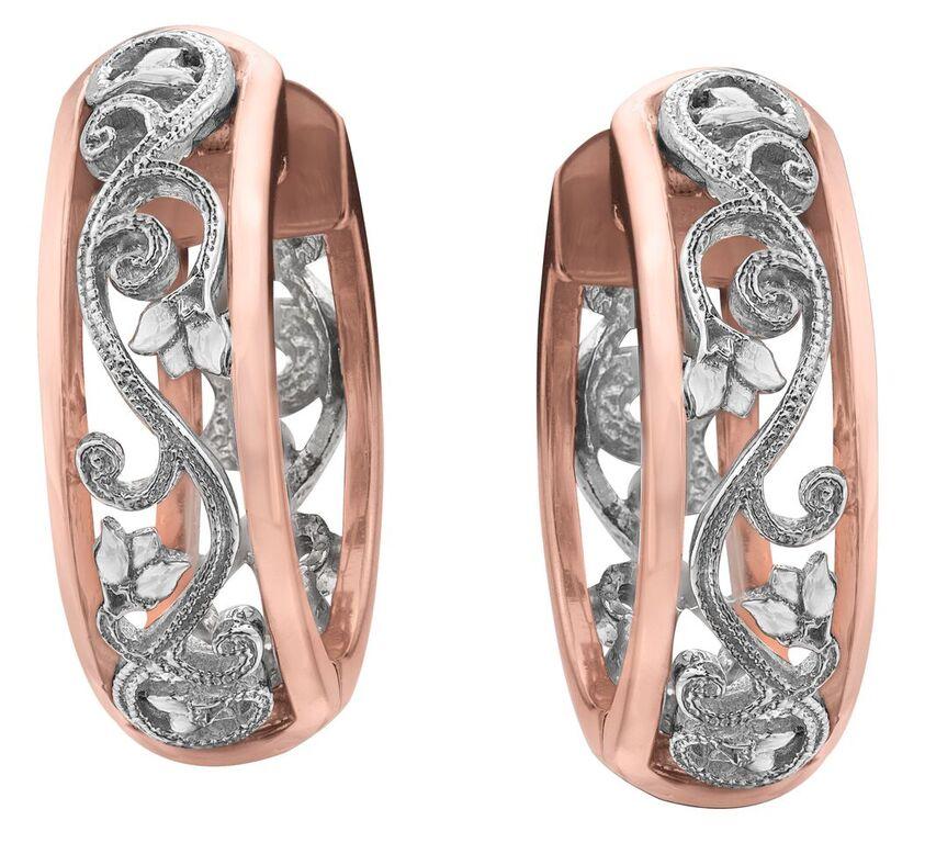 Boucles d'oreilles anneaux pour femme - Or 2-tons 10K & Diamants totalisant 0.09 Carat