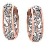 Hoop earrings for woman - 10K 2-tone gold & Diamonds T.W. 0.09 Carat