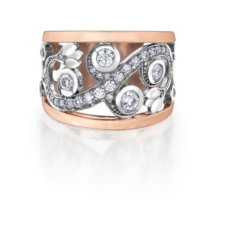 Bague pour femme - Or 2-tons 10K & Diamants totalisant 0.88 Carat