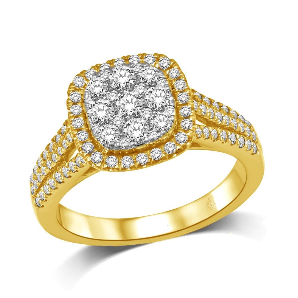 Ring for woman - 14K yellow Gold & Diamonds T.W. 0.90 Carat