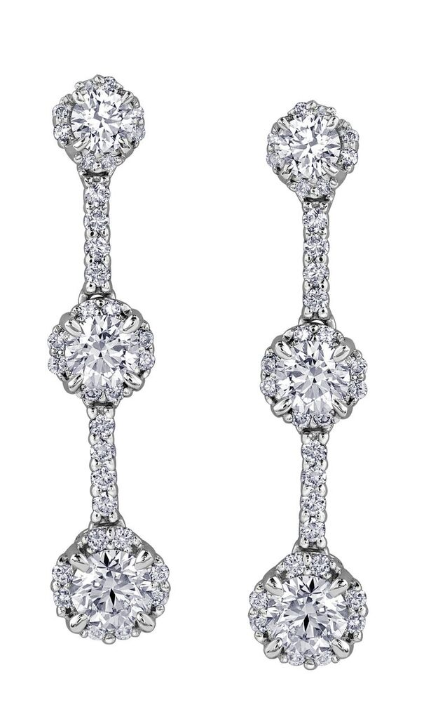 Boucles d'oreilles pendantes à tiges  fixes pour femme - Or blanc 14K & Diamants totalisant 1.00 Carat